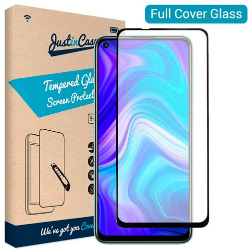 Productafbeelding van de Just in Case Full Cover Tempered Glass Screenprotector Black Xiaomi Redmi Note 9