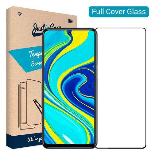 Productafbeelding van de Just in Case Full Cover Tempered Glass Screenprotector Black Xiaomi Redmi Note 9S