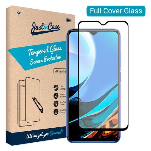 Productafbeelding van de Just in Case Gehard Glas Edge To Edge Screenprotector Zwart Xiaomi Redmi 9T