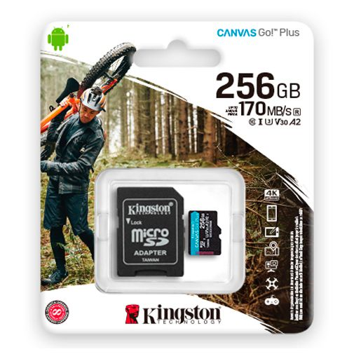 Productafbeelding van de Kingston Canvas Go! Plus microSDXC 256GB + SD-adapter