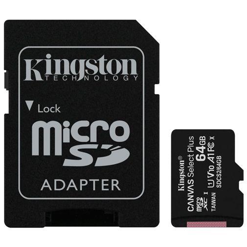 Productafbeelding van de Kingston Canvas Select Plus microSDHC 64GB + SD-adapter