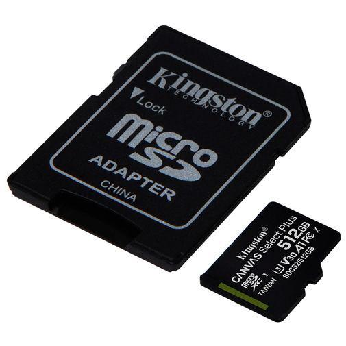 Produktimage des Kingston Canvas Select Plus microSDXC 512GB + SD-Adapter