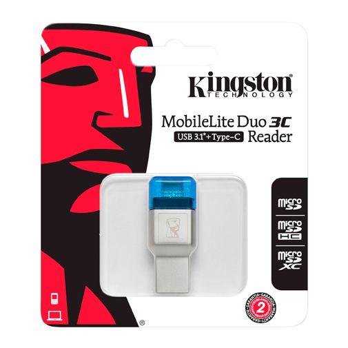 Productafbeelding van de Kingston MobileLite Duo 3C MicroSD - USB-A/USB-C Adapter Blauw