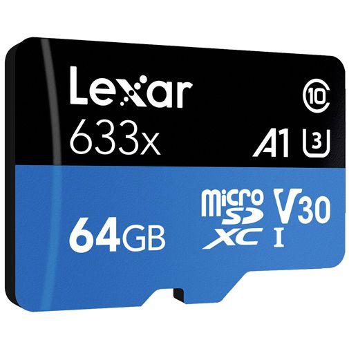 Productafbeelding van de Lexar High Performance 633x MicroSDXC 64GB + SD-adapter