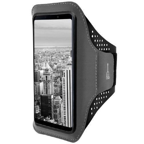 Produktimage des Mobiparts Comfort Fit Sport Armband Schwarz Samsung Galaxy A9