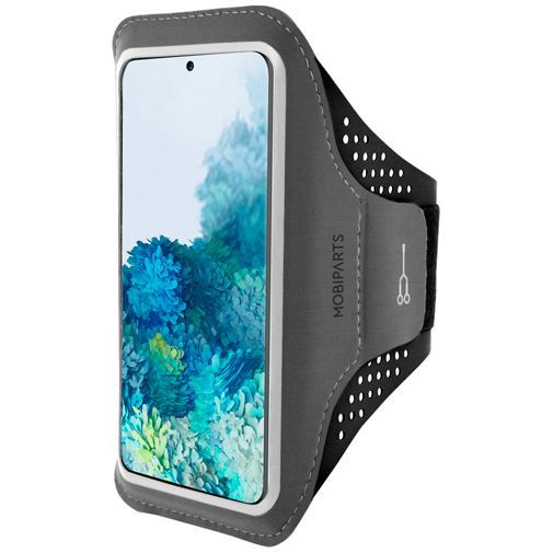 Produktimage des Mobiparts Comfort Fit Sport Armband Schwarz Samsung Galaxy S20