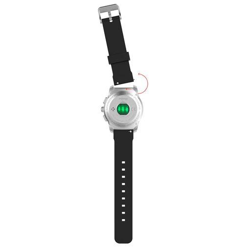 Produktimage des MyKronoz ZeTime 44mm Original Silber (Silikon Armband Schwarz)