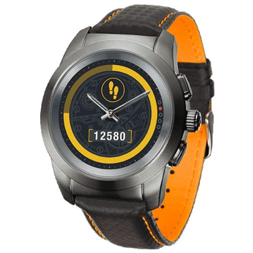 Productafbeelding van de MyKronoz ZeTime 44mm Premium Black (Black/Orange Leather Strap)