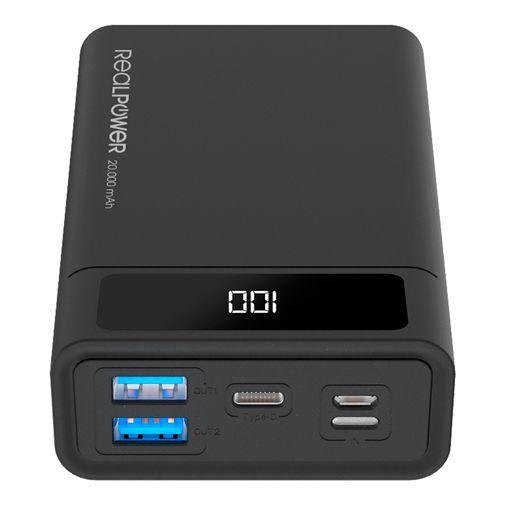 Productafbeelding van de RealPower PB-20000 USB-C Snellader Powerbank 20.000mAh Zwart
