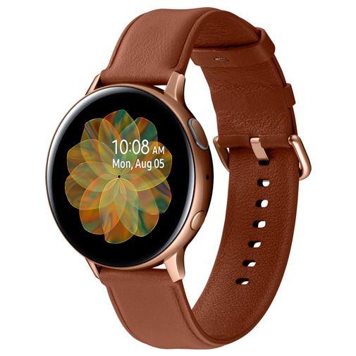 Productafbeelding van de Samsung Galaxy Watch Active 2 4G 44mm SM-R825 Goud RVS Bruine Leren Band