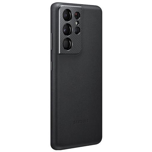 Productafbeelding van de Samsung Leren Back Cover Zwart Samsung Galaxy S21 Ultra