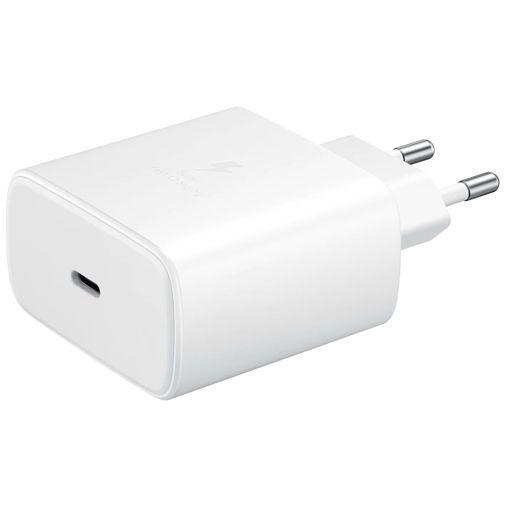 Produktimage des Samsung USB-C Ladeadapter mit Schnellladefunktion 45W + USB-C Kabel EP-TA845 Weiß