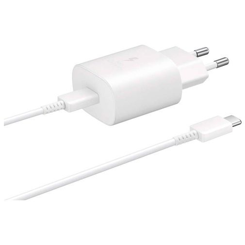 Produktimage des Samsung USB-C Ladeadapter mit Schnellladefunktion 25W + USB-C Kabel EP-TA800 Weiß