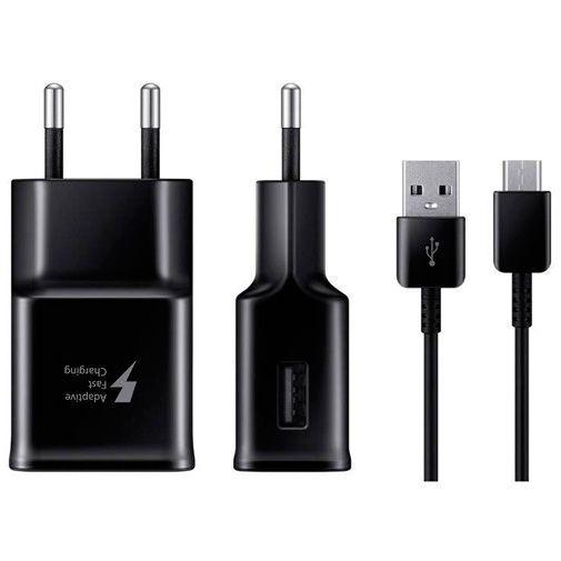 Produktimage des Samsung USB Ladeadapter mit Schnellladefunktion + Micro-USB-Kabel EP-TA20 Schwarz