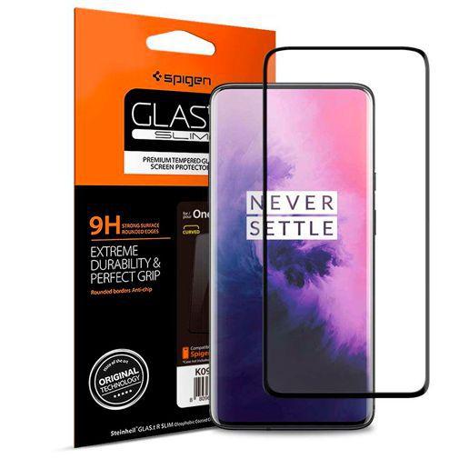 Productafbeelding van de Spigen Full Cover Glass Screenprotector Black OnePlus 7 Pro/7T Pro