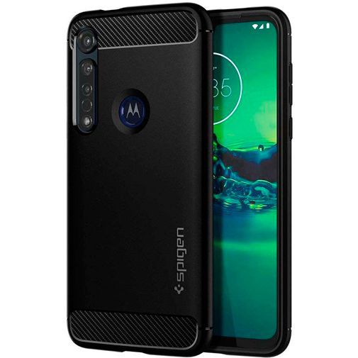 Productafbeelding van de Spigen Rugged Armor Case Black Motorola Moto G8 Plus