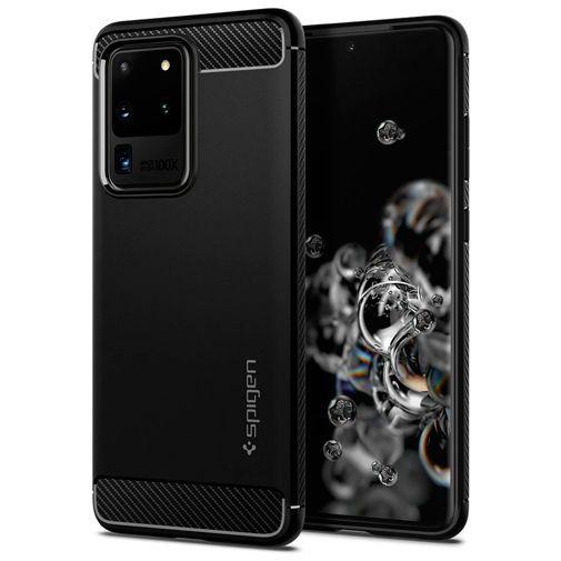 Productafbeelding van de Spigen Rugged Armor Case Black Samsung Galaxy S20 Ultra