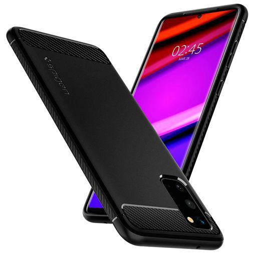 Productafbeelding van de Spigen Rugged Armor Case Black Samsung Galaxy S20