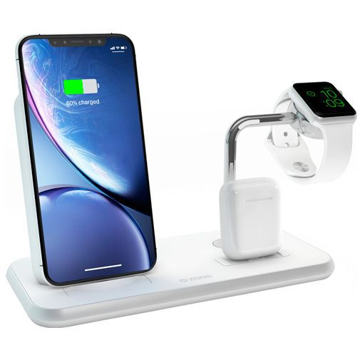 Produktimage des Zens Wireless Quick Charger 10W + AirPods Dock + Apple Watch Stand Weiß